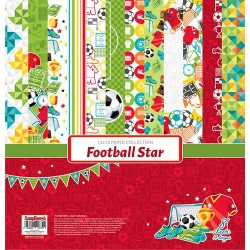 "Блокче с дизайнерски хартии - футбол - Paper Collection Set 12""*12"" Football Star  190 gsm (6 double-sided, 2 one-sided sheets, 14 designs)"