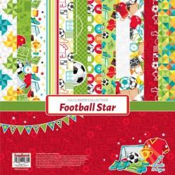 "Блокче с дизайнерски хартии - футбол - Paper Collection Set 12""*12"" Football Star  190 gsm (6 double-sided, 2 one-sided sheets, 14 designs)"