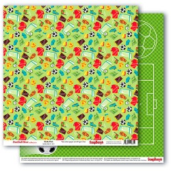 "Двустранен дизайнерски картон - футбол - Double-sided paper 12""*12"" 190 gsm,Football Star, On the Pitch"