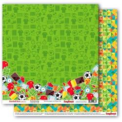 "Двустранна дизайнерска хартия - футбол - Double-sided paper 12""*12"" 190 gsm,Football Star, Combination Play"
