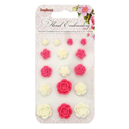 Комплект от резин цветя за залепване - Set of flowers, Floral Embroidery 1 (resin)
