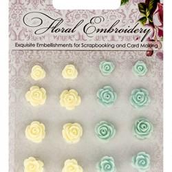 Комплект от резин цветя за залепване - Set of flowers, Floral Embroidery 2 (resin)
