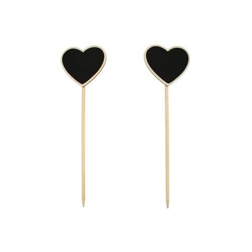 2 бр. дървени сърца на клечки с чясто за надписване - 6.5х5.5х22см - Set of Chalkboard Hearts (Lollipop Style) (6.5*5.5*22cm)