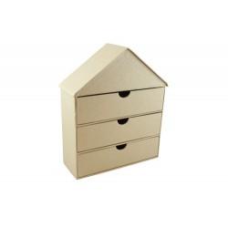 Къща за декориране от папие маше с 3 чекмеджета - 19 x 7 x 23,5см - Papier-Mache Box (19x7x23,5cm) House