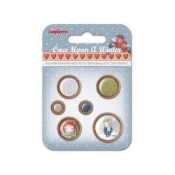 Комплект от 6бр. дървени копчета - Зима - Set of wooden button Once Upon a Winter, 6 pcs
