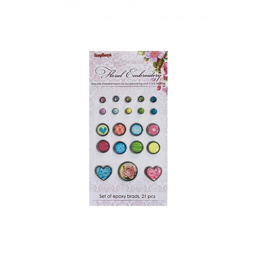 Брадс 21бр. - Epoxy Brads set 21 pcs Floral Embroidery