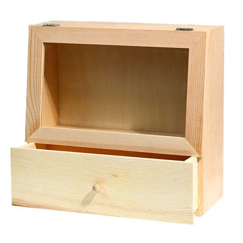 Обемна кутия от дърво за декориране - натурално дърво, с прозорец и чекмедже  - 28 х 27 х11см - Display Case With Storage Drawer (28*27cm*11cm)
