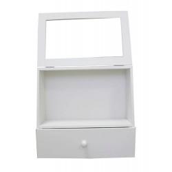 Обемна кутия от дърво за декориране - бяла, с прозорец и чекмедже - 28 х 27 х11см - Display Case With Storage Drawer (28*27cm*11cm) White