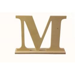 """Дървена буква със стойка """"М"""" - Wooden letter * M * 20 х4 х 15см"""