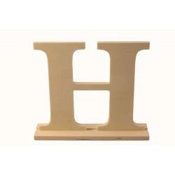 """Дървена буква със стойка """"Н"""" - Wooden letter * H * 17 x 4 x 15см"""