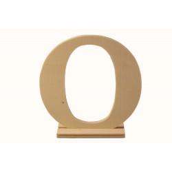 """Дървена буква със стойка """"О"""" - Wooden letter  """"O"""" - 15 x 4 x 15см"""