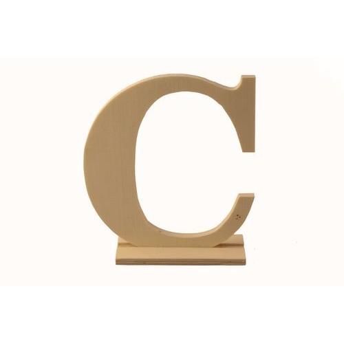 """Дървена буква със стойка """"С"""" - Wooden letter """"C"""" - 12.5 x 4 x 15см"""