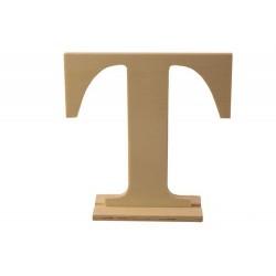 """Дървена буква със стойка """"В"""" - Wooden letter  """"T"""" 14.5 x 4 x 15 см"""