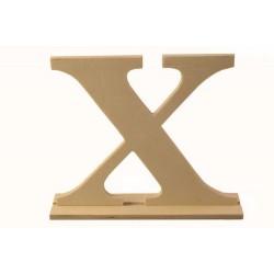 """Дървена буква със стойка """"Х"""" - Wooden letter  """"Х"""" 16.5 x 4 x 15см"""