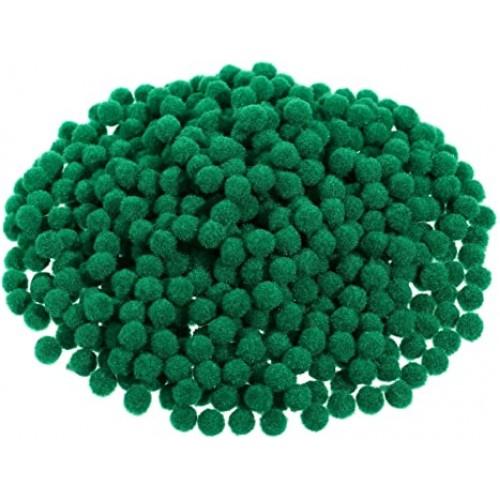 Мини пом-пом топчета - тъмно зелени - Christmas Pom Poms Fluffy Pom Balls Mini - 50бр.