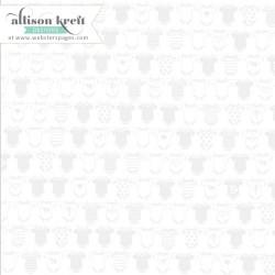 """Декоративен ацетатен лист - с бебешки бодита - 12""""х 12"""" - Overlay – Onesie White 30x30cm, 1 sheet"""