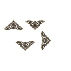 Комплект от 4бр. метални ъгълчета - обков, антик бронз, 34х34х1.5мм