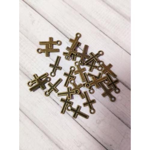 Комплект от 25бр. метални кръстчета - старо злато - 15 х 8мм