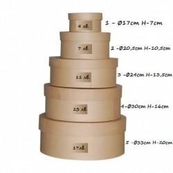 Кръгла кутия от папие маше - Ø17cm H-7cm - вариант 1 - 1бр.