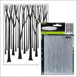 Ембосинг папка дървета - Embossing template 10,8x14,6cm Tree trunks