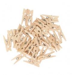 Мини дървени щипчици 3х26мм - натурални - 10 броя