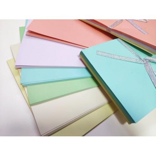 Основи за картички с пликове - пастелни цветове - 50бр.