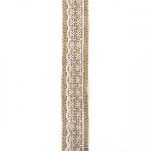 Лента зебло с бяла дантела 3x200 см