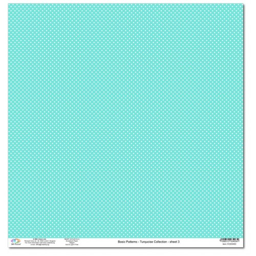 Дизайнерски картон 12x12inch 190gr - Basic Patterns - Turquoise Collection - No.3