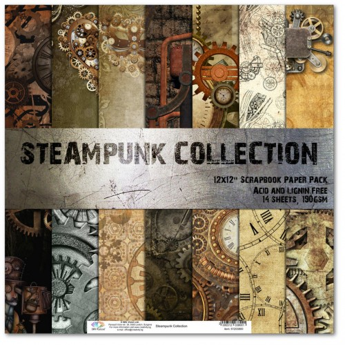 Комплект дизайнерски картони 12x12inch 14 листа 190gr - Steampunk Collection