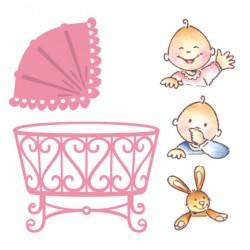 Универсални шаблони за изрязване и релеф 2бр с печати 3бр бебе в количка / кошче  - Collectable - Eline baby