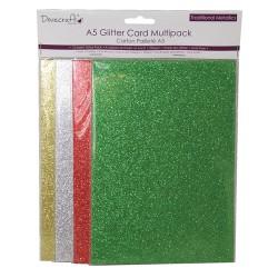 Брокатени картони A5 - 12 листа 220gr  - 4 цвята - златно, сребро, зелено и червено
