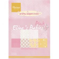 К-т дизайнерски хартии A4 16 листа - Elines baby girl