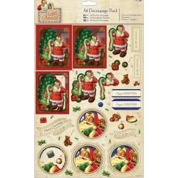 Комплект от А4 листи за декупаж - Papermania - A4 Decoupage Pack Foiled - Letter to Santa - Santas List