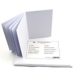 Основи за картички - A6 (10.5x14.8cm) 250gr картон - Премиум БЯЛ - 25бр
