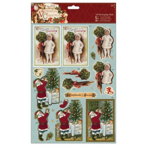 A4 3D Decoupage Pack - Victorian Christmas - Holly