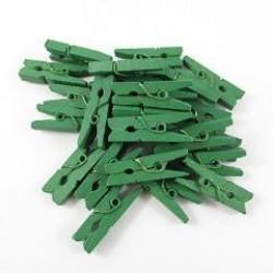 Мини дървени щипчици 3х26мм - тъмно зелени - 10 броя