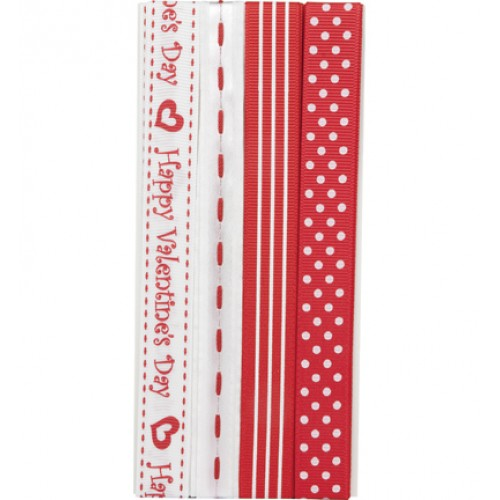 Комплект панделки - Hobby Crafting Fun -Ribbon set happy valentine 4x90cm