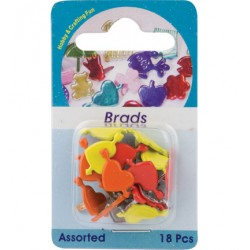 Брадс - Hobby Crafting Fun - Brads, heart, assorted colour, 18 pcs