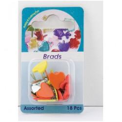 Брадс - Hobby Crafting Fun - Brads, heart /arrow, assorted colour, 18 бр.