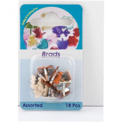 Брадс - мечета - Hobby Crafting Fun - Brads, bear, assorted colour - 18бр.