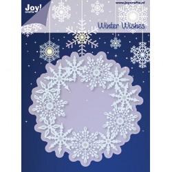Метална щанца за рязане и релеф венец/ рамка  от снежинки - JoyCrafts - Snij- en Embossing stencil cirkel met ijskristallen - снежинки, рамка