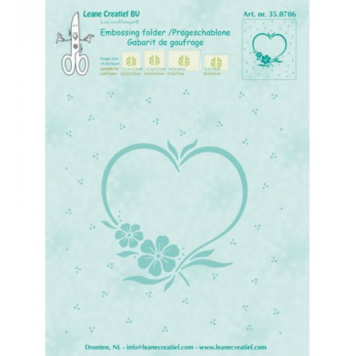 "Папка за релеф рамка ""сърце"" и цветя - Leane Creatief - Embossing folder Frame blossom heart"