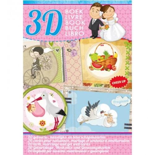 Книжка за направа на 20 3D картички - StudioLight  - Geboorte,Huwelijk en Beterschaps kaarten - 32стр, 170гр.