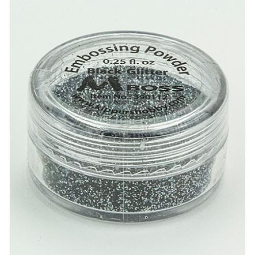 Фина ембосинг пудра - черна с брокат - Mboss - Embossing Powder Black-Glitter (Special Silver)