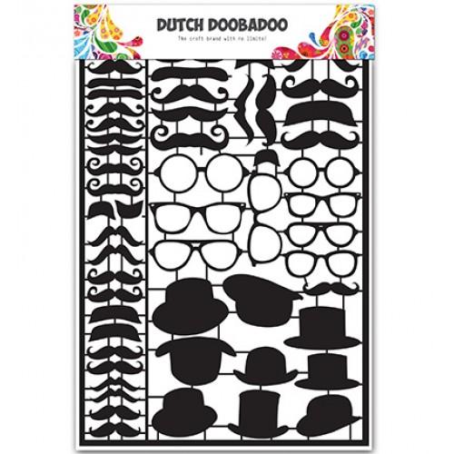 Черни тънки хартиени елементи - мустаци, очила и шапки- DDBD - Dutch Paper Art Black Mustaches
