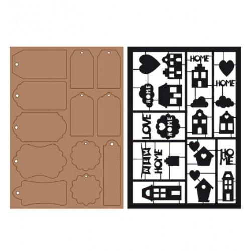 Елементи от пресован картон и шаблони - Kraftliner + Paper Tags and Spring