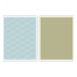 Комплект от 2бр. ембосинг папки - Sizzix - Sizzix Textured Impressions Embossing Folders 2PK-Hexagons & Chevrons Set of 2