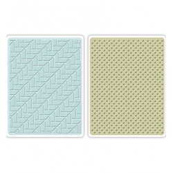 Комплект от 2бр. ембосинг папки - Sizzix - Sizzix Textured Impressions Embossing Folders 2PK-Houndstooth & Dots Set of 2