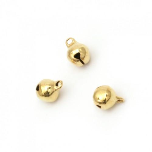 Мини метални звънчета  8x10 мм дупка 1.5 мм първо качество - цвят злато - 10 броя