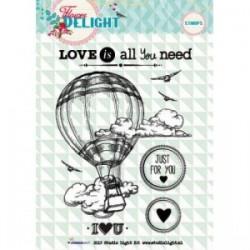 Силиконов дизайнерски печат - балон с въздух из облаците - Stamp A6 Flower Delight nr.94